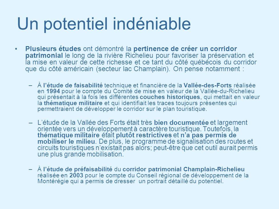 Un potentiel indéniable Plusieurs études ont démontré la pertinence de créer un corridor patrimonial le long de la rivière Richelieu pour favoriser la