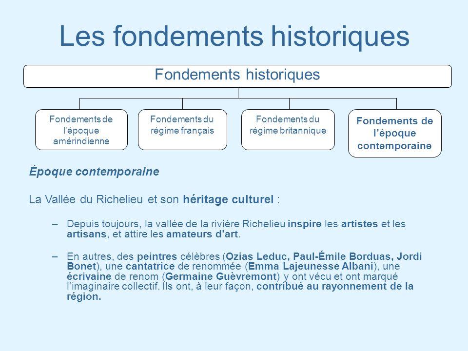 Les fondements historiques Fondements historiques Fondements de lépoque amérindienne Fondements du régime français Fondements du régime britannique Fo