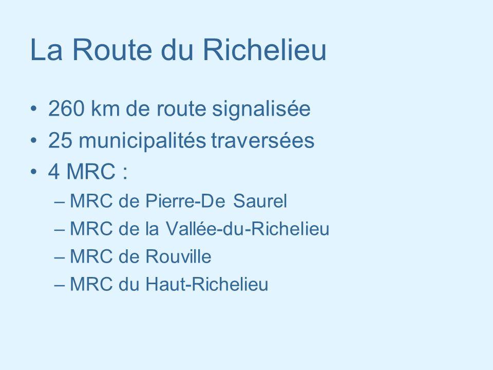 La Route du Richelieu 260 km de route signalisée 25 municipalités traversées 4 MRC : –MRC de Pierre-De Saurel –MRC de la Vallée-du-Richelieu –MRC de R