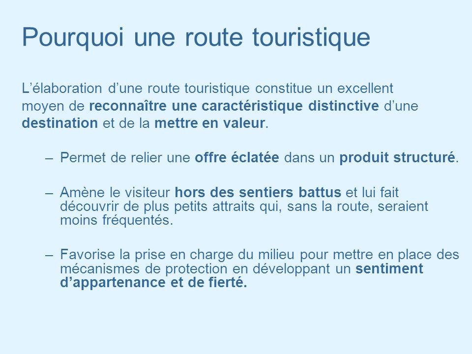Pourquoi une route touristique Lélaboration dune route touristique constitue un excellent moyen de reconnaître une caractéristique distinctive dune de