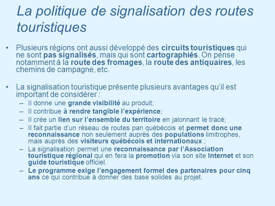 La politique de signalisation des routes touristiques Plusieurs régions ont aussi développé des circuits touristiques qui ne sont pas signalisés, mais