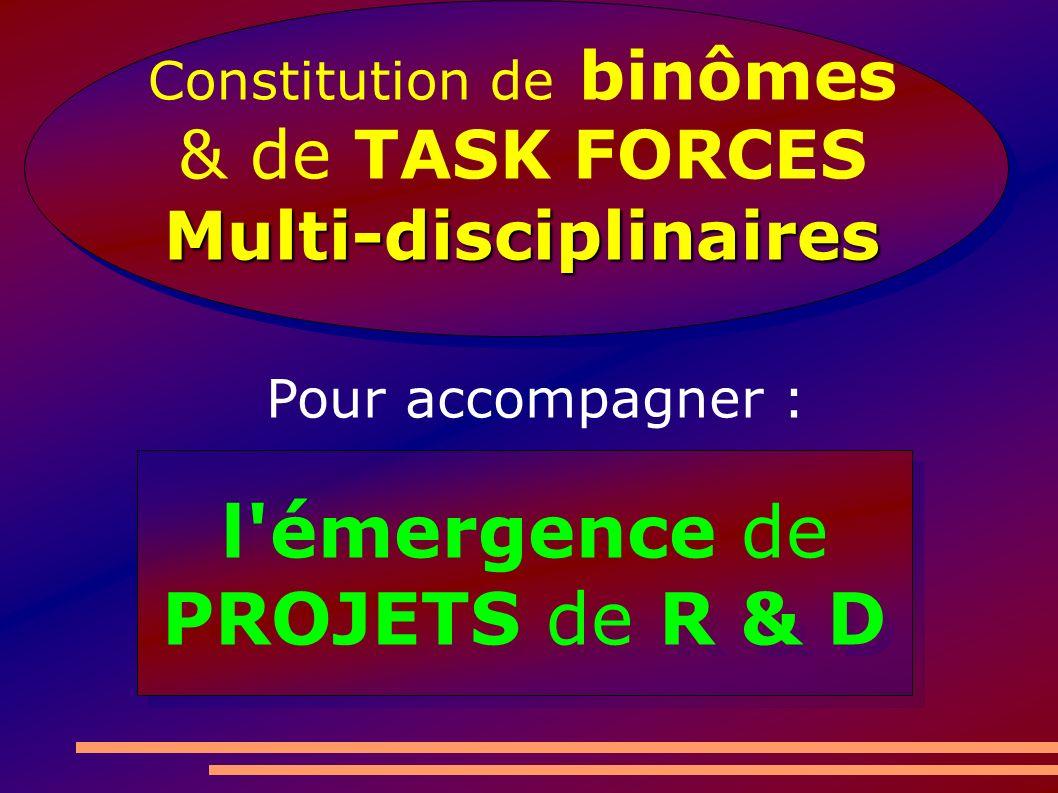 l émergence de PROJETS de R & D l émergence de PROJETS de R & D Constitution de binômes & de TASK FORCESMulti-disciplinaires Pour accompagner :