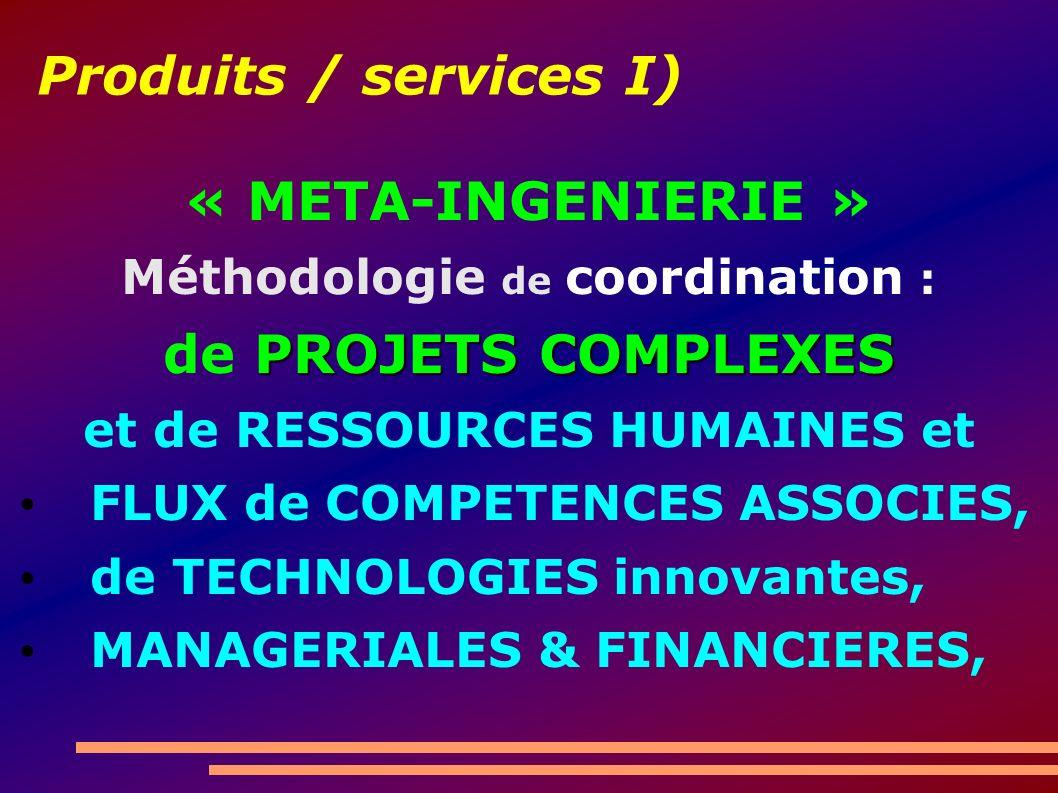 Produits / services I) « META-INGENIERIE » Méthodologie de coordination : PROJETS COMPLEXES de PROJETS COMPLEXES et de RESSOURCES HUMAINES et FLUX de COMPETENCES ASSOCIES, de TECHNOLOGIES innovantes, MANAGERIALES & FINANCIERES,