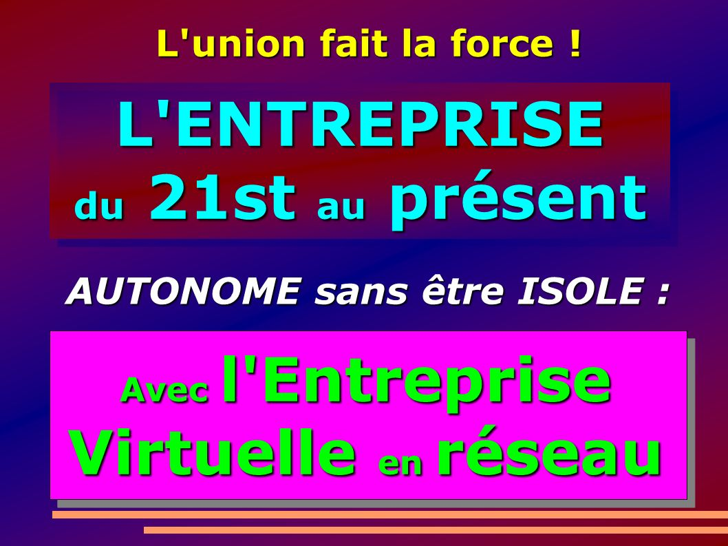 L ENTREPRISE du 21st au présent L ENTREPRISE Avec l Entreprise Virtuelle en réseau L union fait la force .