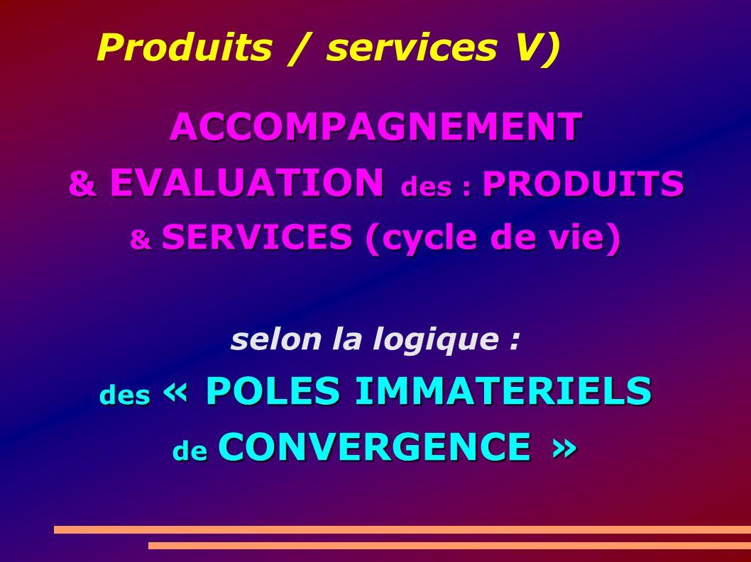 Produits / services V) ACCOMPAGNEMENT & EVALUATION des : PRODUITS & SERVICES (cycle de vie) selon la logique : des « POLES IMMATERIELS de CONVERGENCE