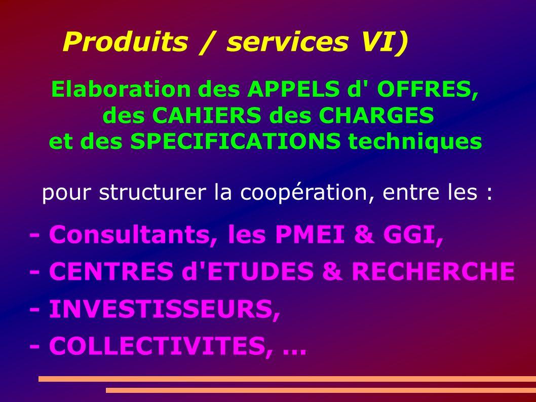 Produits / services VI) - Consultants, les PMEI & GGI, - CENTRES d'ETUDES & RECHERCHE - INVESTISSEURS, - COLLECTIVITES,... Elaboration des APPELS d' O