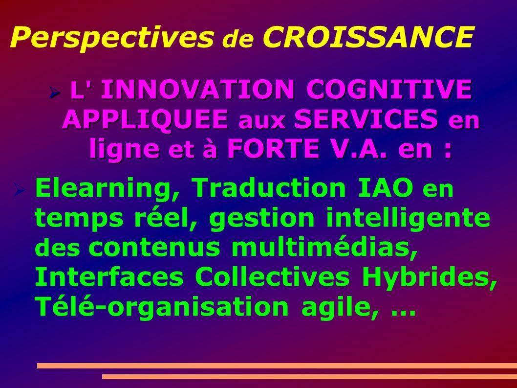 Perspectives de CROISSANCE L INNOVATION COGNITIVE APPLIQUEE aux SERVICES en ligne et à FORTE V.A.