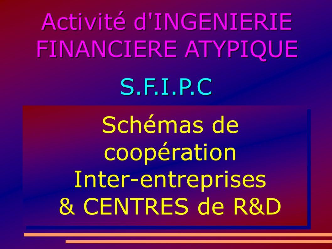 Activité d INGENIERIE FINANCIERE ATYPIQUE S.F.I.P.C Schémas de coopération Inter-entreprises & CENTRES de R&D