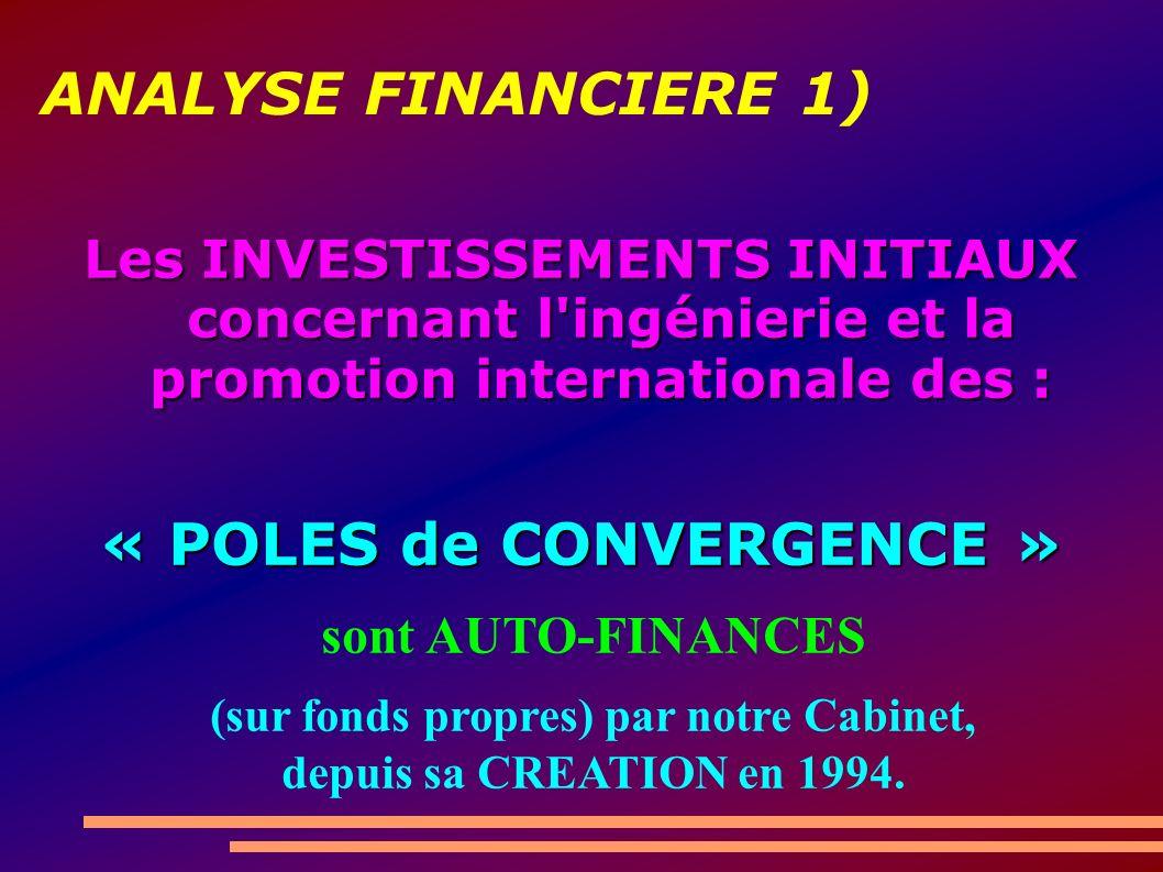 ANALYSE FINANCIERE 1) Les INVESTISSEMENTS INITIAUX concernant l ingénierie et la promotion internationale des : « POLES de CONVERGENCE » sont AUTO-FINANCES (sur fonds propres) par notre Cabinet, depuis sa CREATION en 1994.