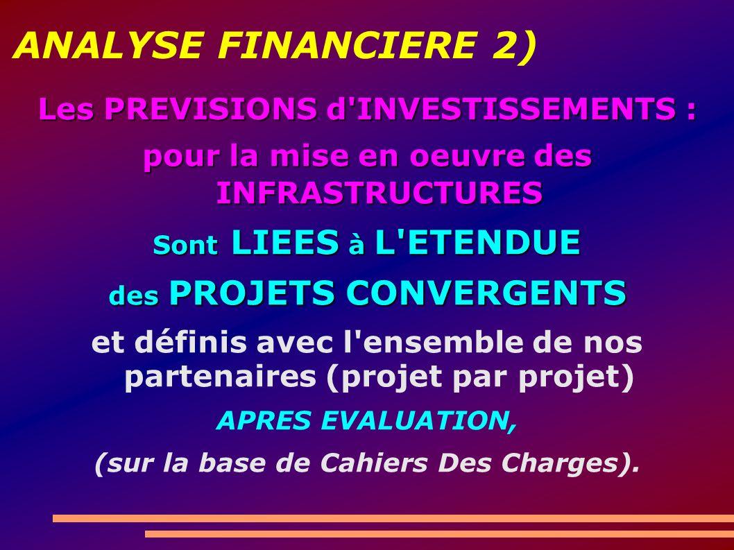 ANALYSE FINANCIERE 2) Les PREVISIONS d INVESTISSEMENTS : pour la mise en oeuvre des INFRASTRUCTURES Sont LIEES à L ETENDUE des PROJETS CONVERGENTS et définis avec l ensemble de nos partenaires (projet par projet) APRES EVALUATION, (sur la base de Cahiers Des Charges).