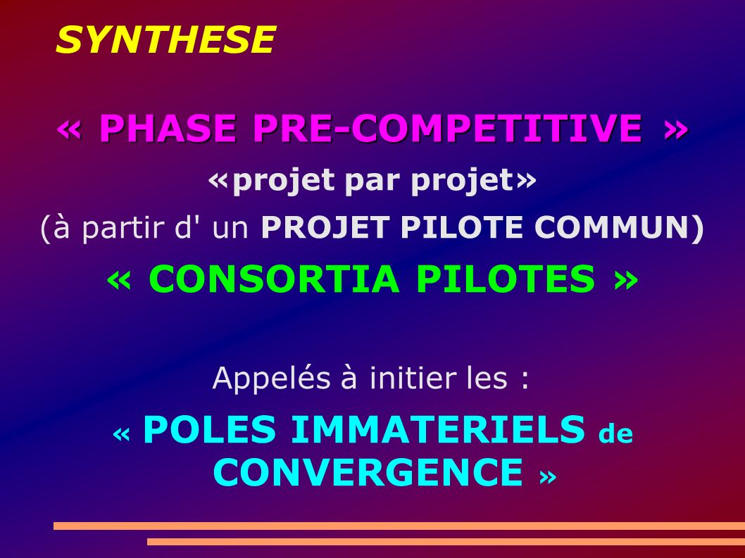 SYNTHESE « PHASE PRE-COMPETITIVE » «projet par projet» (à partir d un PROJET PILOTE COMMUN) « CONSORTIA PILOTES » Appelés à initier les : « POLES IMMATERIELS de CONVERGENCE »