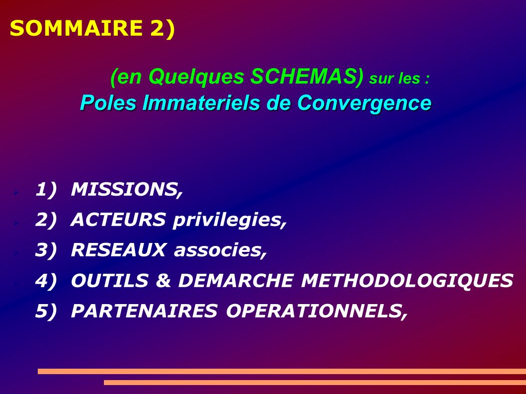 SOMMAIRE 2) 1) MISSIONS, 2) ACTEURS privilegies, 3) RESEAUX associes, 4) OUTILS & DEMARCHE METHODOLOGIQUES 5) PARTENAIRES OPERATIONNELS, Poles Immateriels de Convergence (en Quelques SCHEMAS) sur les : Poles Immateriels de Convergence