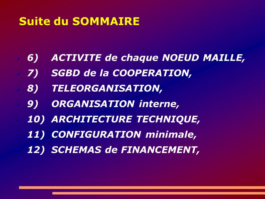 Suite du SOMMAIRE 6) ACTIVITE de chaque NOEUD MAILLE, 7) SGBD de la COOPERATION, 8) TELEORGANISATION, 9) ORGANISATION interne, 10)ARCHITECTURE TECHNIQUE, 11)CONFIGURATION minimale, 12)SCHEMAS de FINANCEMENT,