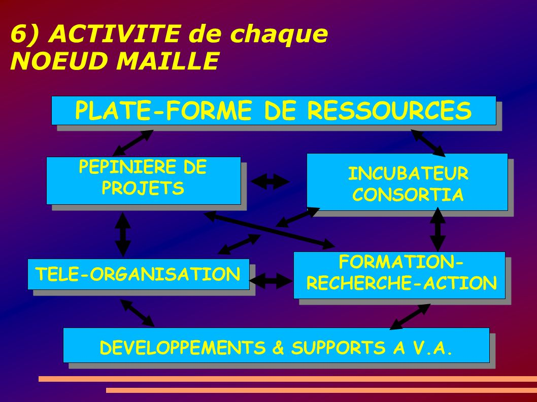 6) ACTIVITE de chaque NOEUD MAILLE DEVELOPPEMENTS & SUPPORTS A V.A.