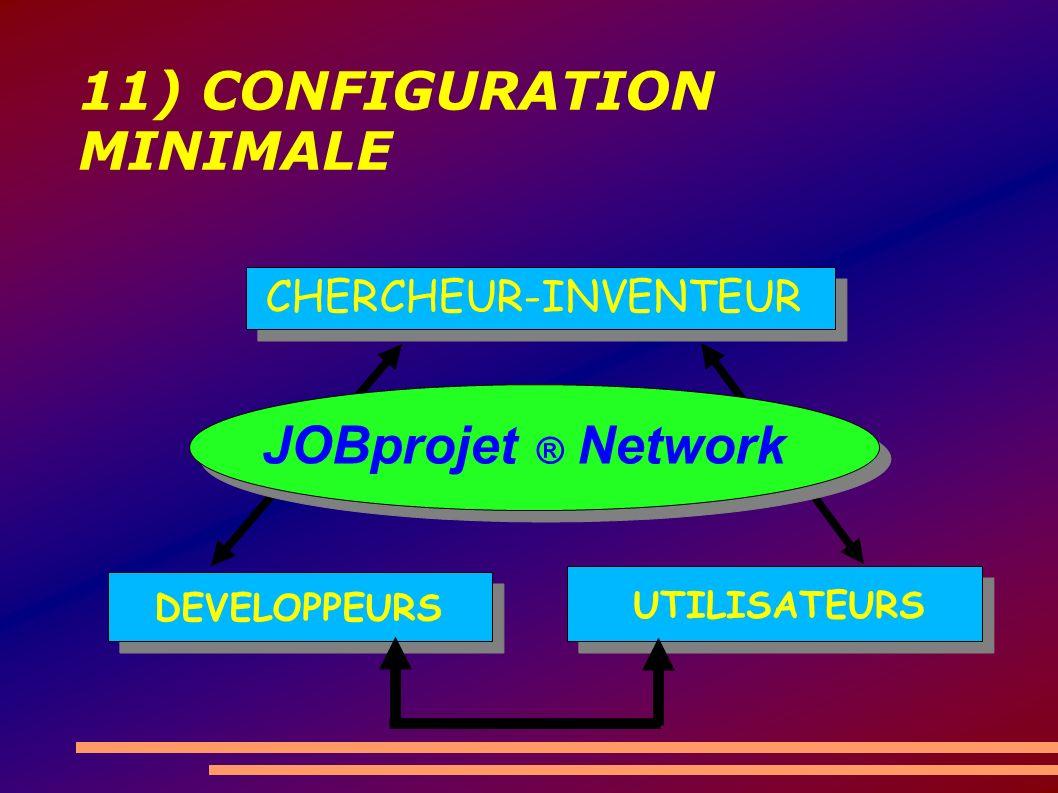 11) CONFIGURATION MINIMALE CHERCHEUR-INVENTEUR DEVELOPPEURS UTILISATEURS JOBprojet ® Network