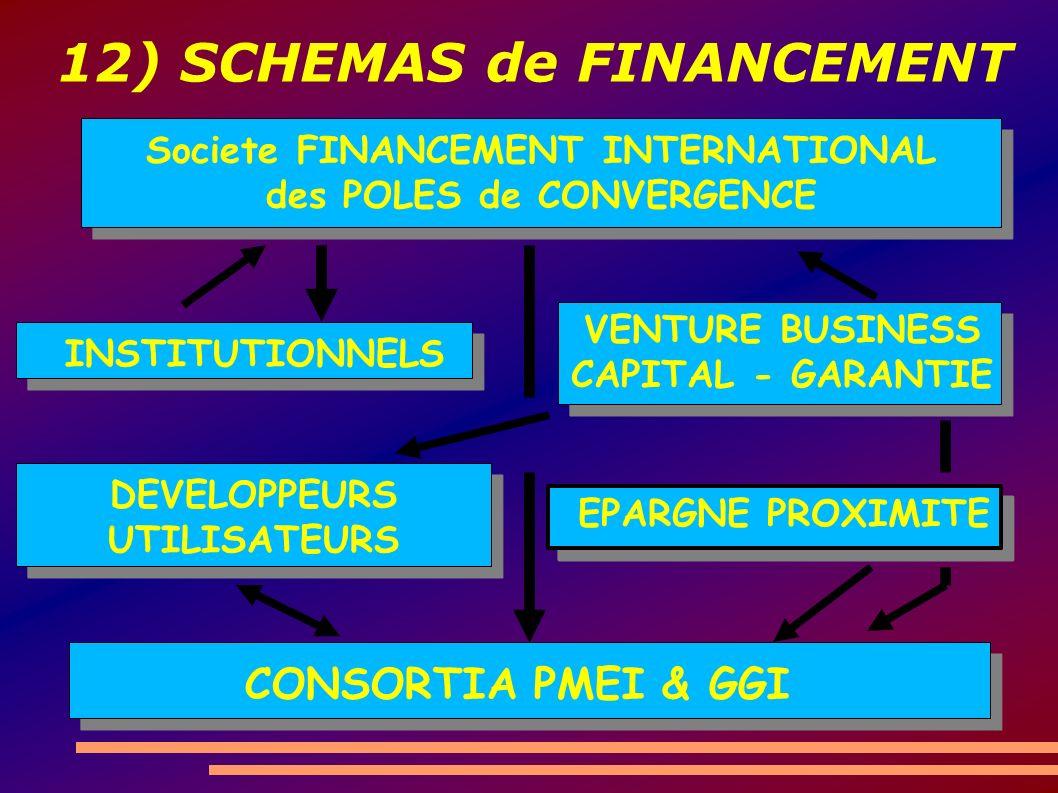 12) SCHEMAS de FINANCEMENT CONSORTIA PMEI & GGI Societe FINANCEMENT INTERNATIONAL des POLES de CONVERGENCE INSTITUTIONNELS VENTURE BUSINESS CAPITAL - GARANTIE DEVELOPPEURS UTILISATEURS EPARGNE PROXIMITE