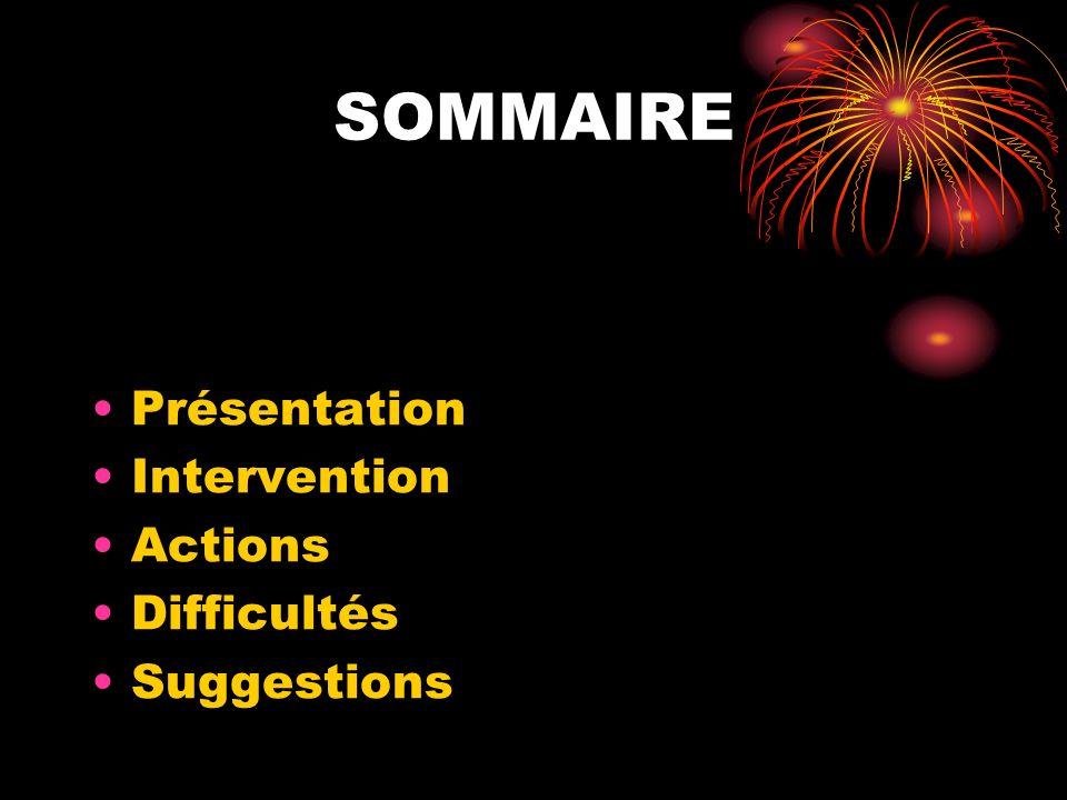 Présentation Intervention Actions Difficultés Suggestions SOMMAIRE