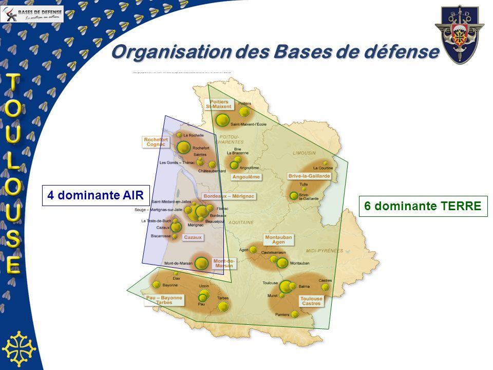 Organisation des Bases de défense 4 dominante AIR 6 dominante TERRE