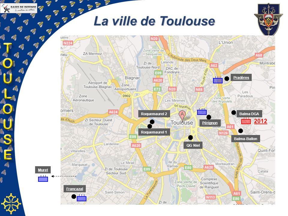 La ville de Toulouse Pérignon Pradères Balma DGA Balma-Ballon Roquemaurel 1 Roquemaurel 2 Francazal QG Niel Muret 2012