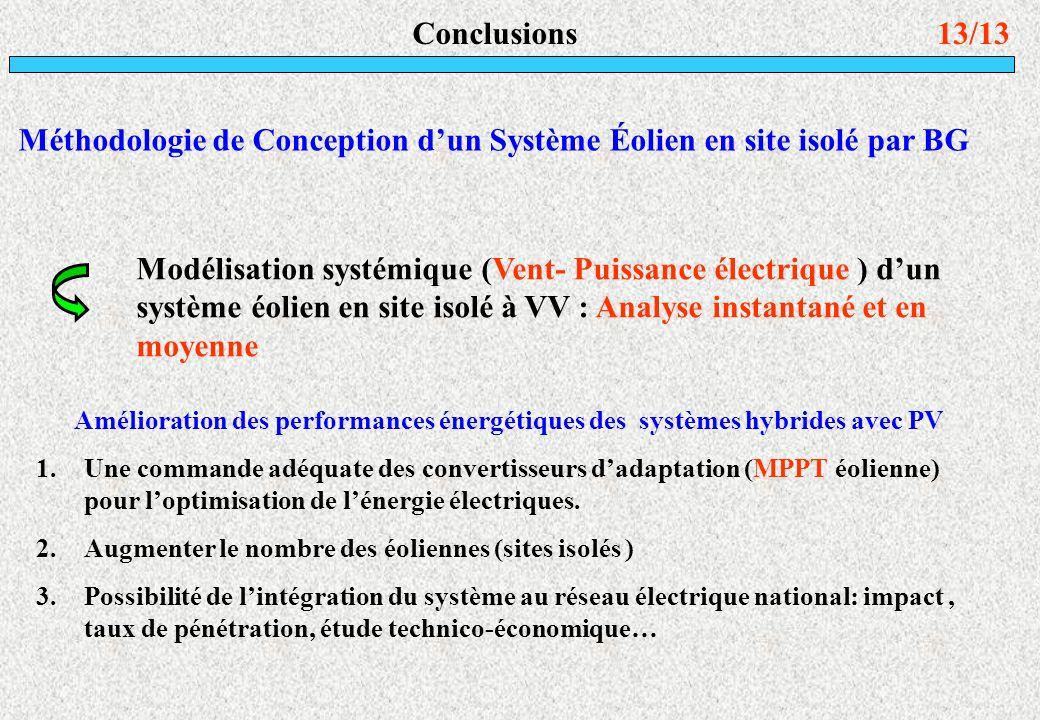 13/13Conclusions Amélioration des performances énergétiques des systèmes hybrides avec PV 1.Une commande adéquate des convertisseurs dadaptation (MPPT