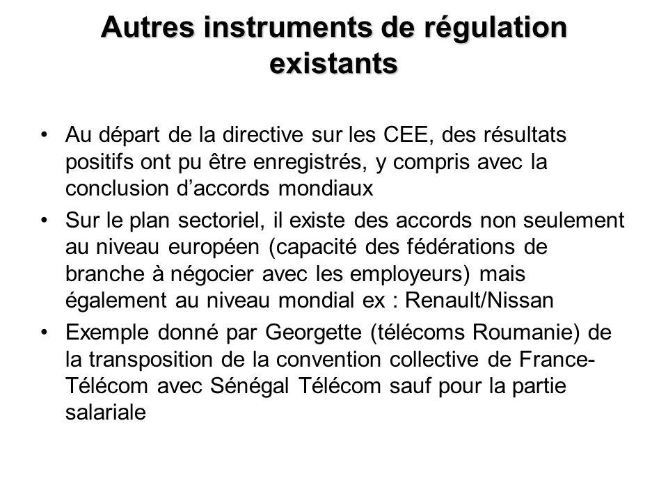 Autres instruments de régulation existants Au départ de la directive sur les CEE, des résultats positifs ont pu être enregistrés, y compris avec la conclusion daccords mondiaux Sur le plan sectoriel, il existe des accords non seulement au niveau européen (capacité des fédérations de branche à négocier avec les employeurs) mais également au niveau mondial ex : Renault/Nissan Exemple donné par Georgette (télécoms Roumanie) de la transposition de la convention collective de France- Télécom avec Sénégal Télécom sauf pour la partie salariale