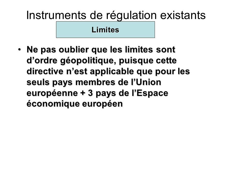 Instruments de régulation existants Ne pas oublier que les limites sont dordre géopolitique, puisque cette directive nest applicable que pour les seuls pays membres de lUnion européenne + 3 pays de lEspace économique européenNe pas oublier que les limites sont dordre géopolitique, puisque cette directive nest applicable que pour les seuls pays membres de lUnion européenne + 3 pays de lEspace économique européen Limites