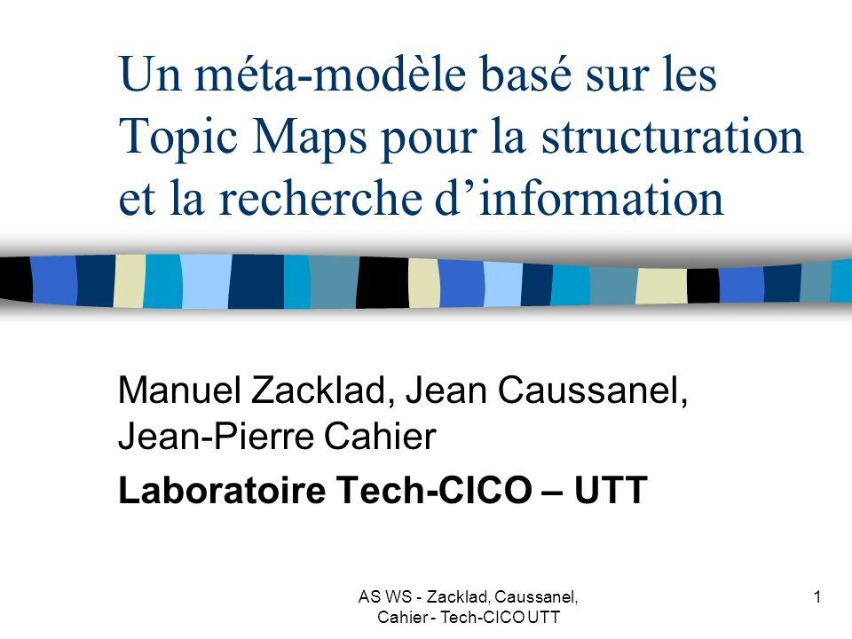 AS WS - Zacklad, Caussanel, Cahier - Tech-CICO UTT 1 Un méta-modèle basé sur les Topic Maps pour la structuration et la recherche dinformation Manuel Zacklad, Jean Caussanel, Jean-Pierre Cahier Laboratoire Tech-CICO – UTT