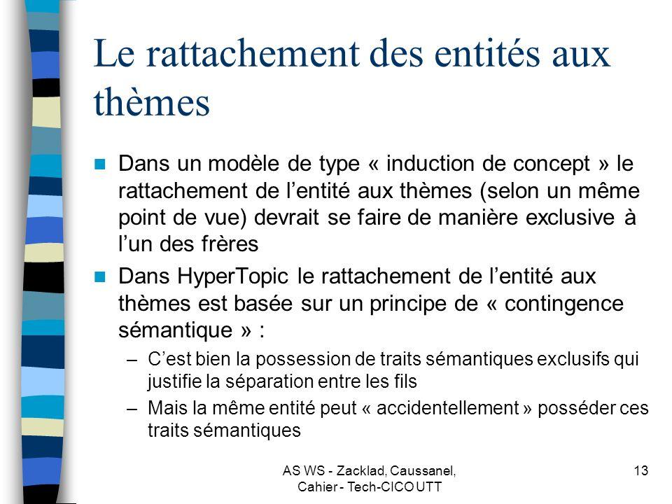 AS WS - Zacklad, Caussanel, Cahier - Tech-CICO UTT 12 La représentation heuristique du « contenu » par le réseau des thèmes Les thèmes sont des expres
