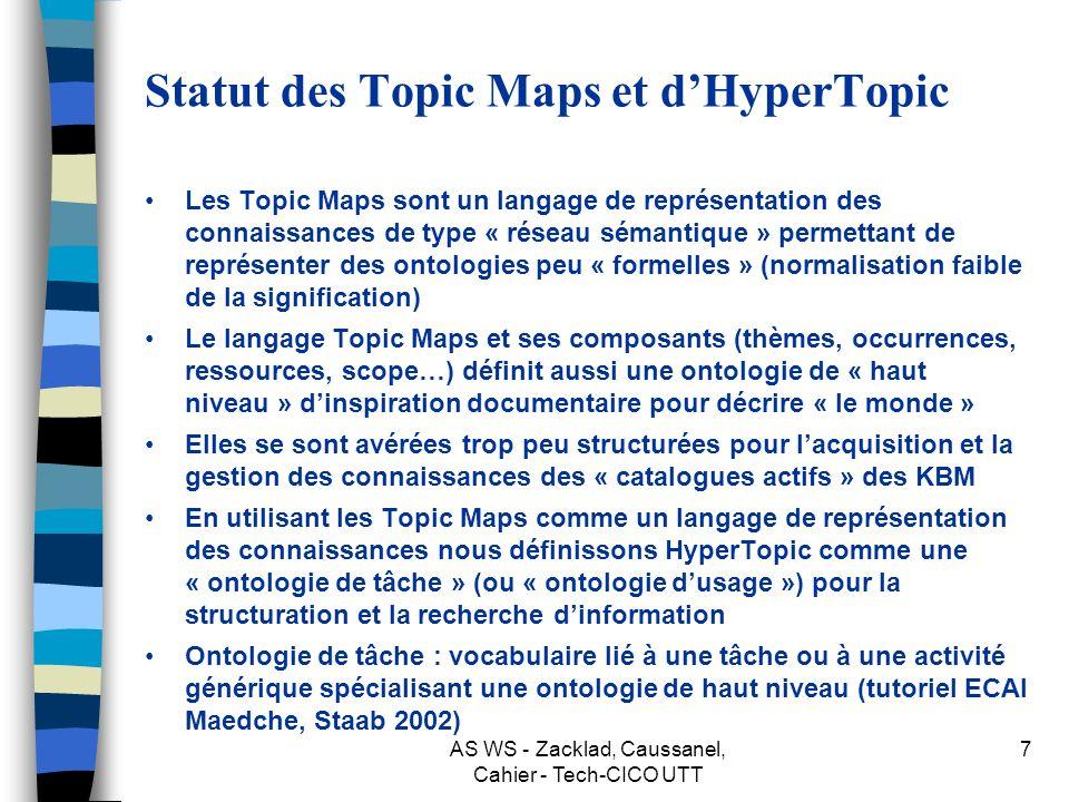 AS WS - Zacklad, Caussanel, Cahier - Tech-CICO UTT 7 Statut des Topic Maps et dHyperTopic Les Topic Maps sont un langage de représentation des connaissances de type « réseau sémantique » permettant de représenter des ontologies peu « formelles » (normalisation faible de la signification) Le langage Topic Maps et ses composants (thèmes, occurrences, ressources, scope…) définit aussi une ontologie de « haut niveau » dinspiration documentaire pour décrire « le monde » Elles se sont avérées trop peu structurées pour lacquisition et la gestion des connaissances des « catalogues actifs » des KBM En utilisant les Topic Maps comme un langage de représentation des connaissances nous définissons HyperTopic comme une « ontologie de tâche » (ou « ontologie dusage ») pour la structuration et la recherche dinformation Ontologie de tâche : vocabulaire lié à une tâche ou à une activité générique spécialisant une ontologie de haut niveau (tutoriel ECAI Maedche, Staab 2002)