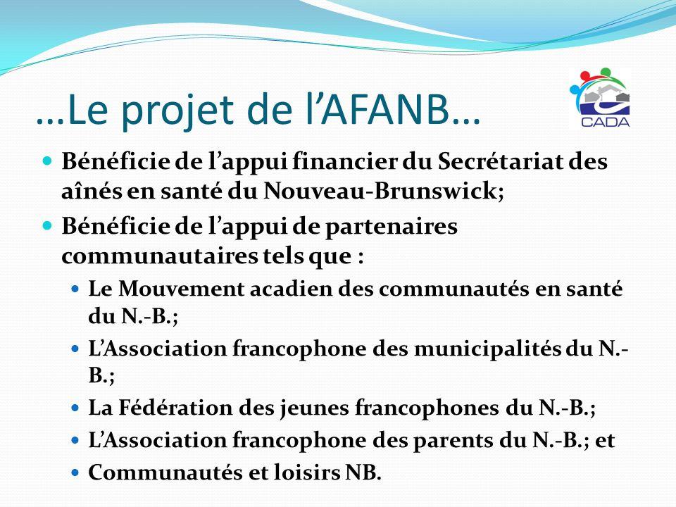 …Le projet de lAFANB… Bénéficie de lappui financier du Secrétariat des aînés en santé du Nouveau-Brunswick; Bénéficie de lappui de partenaires communa