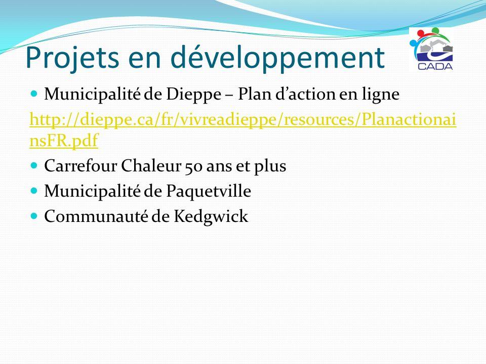 Projets en développement Municipalité de Dieppe – Plan daction en ligne http://dieppe.ca/fr/vivreadieppe/resources/Planactionai nsFR.pdf Carrefour Cha