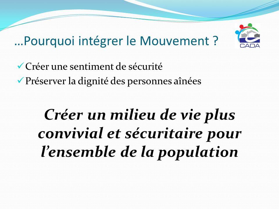 …Pourquoi intégrer le Mouvement ? Créer une sentiment de sécurité Préserver la dignité des personnes aînées Créer un milieu de vie plus convivial et s