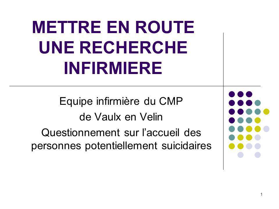 1 METTRE EN ROUTE UNE RECHERCHE INFIRMIERE Equipe infirmière du CMP de Vaulx en Velin Questionnement sur laccueil des personnes potentiellement suicid