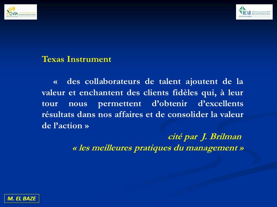 M. EL BAZE Texas Instrument « des collaborateurs de talent ajoutent de la valeur et enchantent des clients fidèles qui, à leur tour nous permettent do