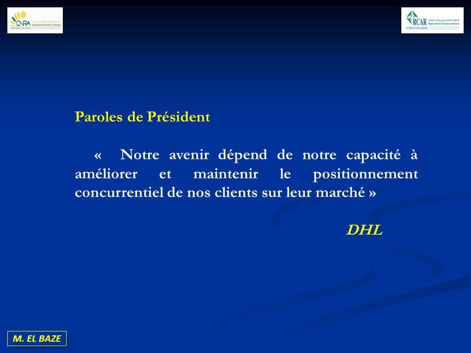 M. EL BAZE Paroles de Président « Notre avenir dépend de notre capacité à améliorer et maintenir le positionnement concurrentiel de nos clients sur le