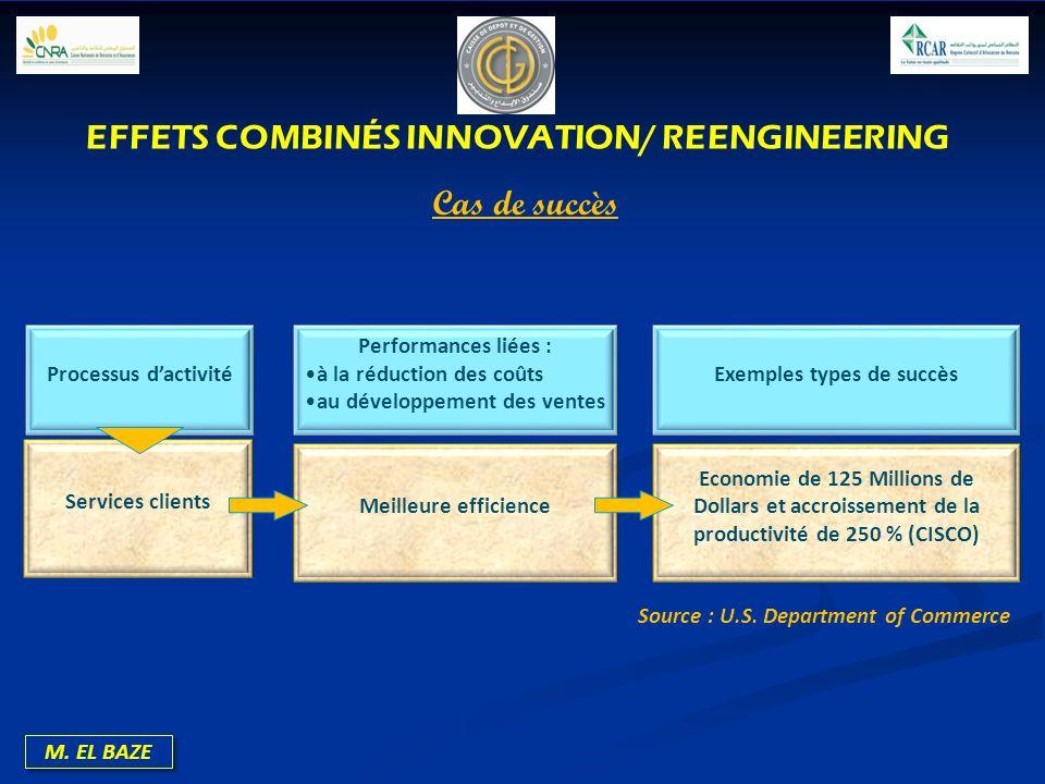 M. EL BAZE Processus dactivité Performances liées : à la réduction des coûts au développement des ventes Exemples types de succès Services clients Mei
