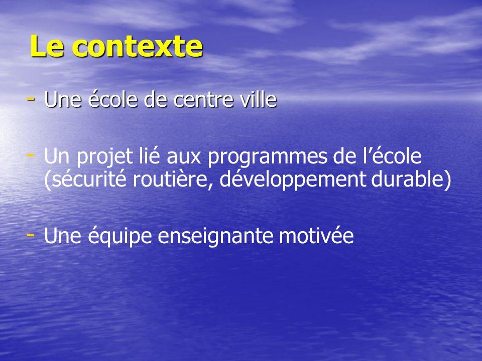 Le contexte - Une école de centre ville - - Un projet lié aux programmes de lécole (sécurité routière, développement durable) - - Une équipe enseignan