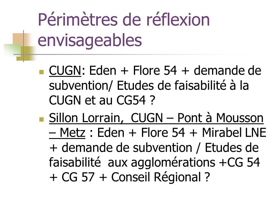 Périmètres de réflexion envisageables CUGN: Eden + Flore 54 + demande de subvention/ Etudes de faisabilité à la CUGN et au CG54 .