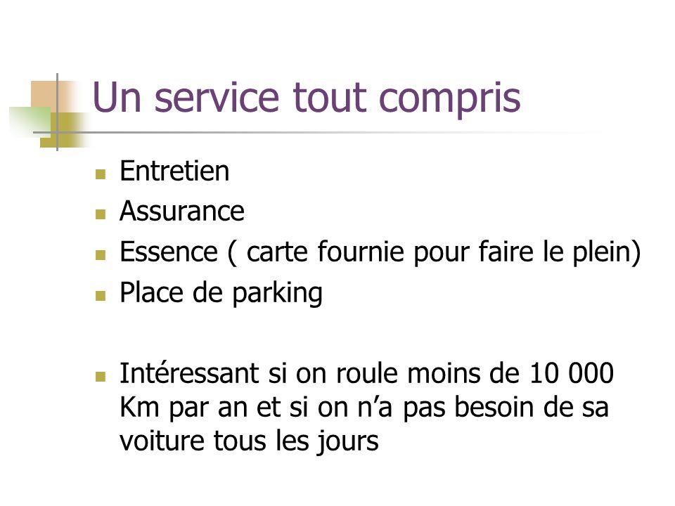 Un service tout compris Entretien Assurance Essence ( carte fournie pour faire le plein) Place de parking Intéressant si on roule moins de 10 000 Km par an et si on na pas besoin de sa voiture tous les jours