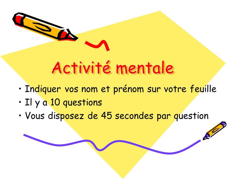 Question 1 (ln) =