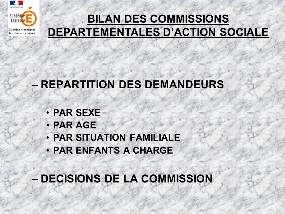 –REPARTITION DES DEMANDEURS PAR SEXE PAR AGE PAR SITUATION FAMILIALE PAR ENFANTS A CHARGE –DECISIONS DE LA COMMISSION BILAN DES COMMISSIONS DEPARTEMEN