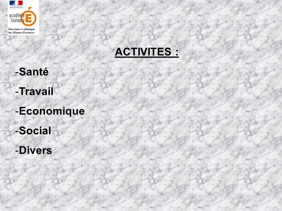 ACTIVITES : -Santé -Travail -Economique -Social -Divers