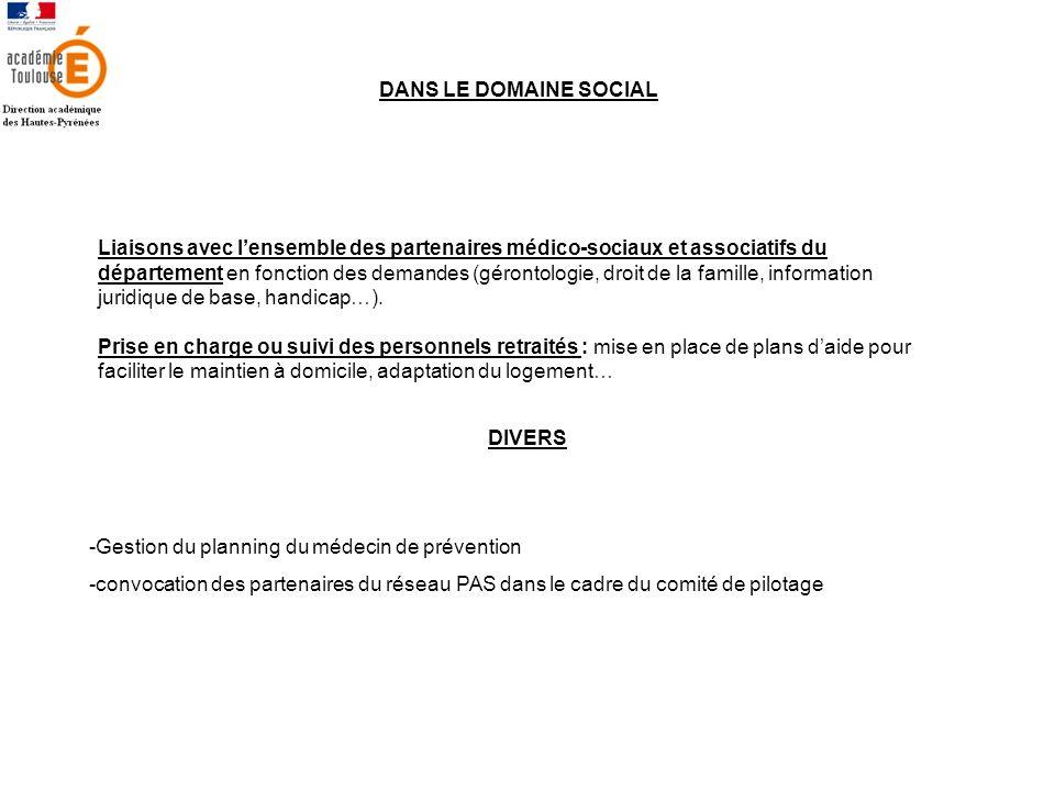 DANS LE DOMAINE SOCIAL Liaisons avec lensemble des partenaires médico-sociaux et associatifs du département en fonction des demandes (gérontologie, dr