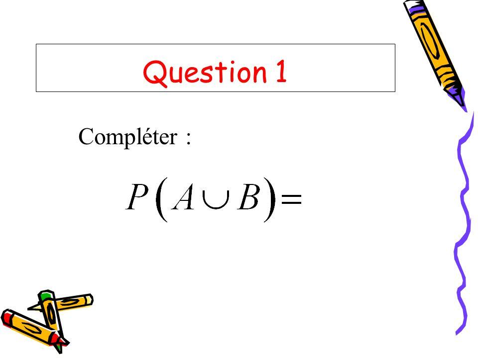 Question 1 Compléter :
