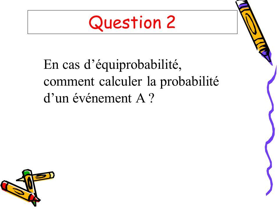 Question 2 En cas déquiprobabilité, comment calculer la probabilité dun événement A ?