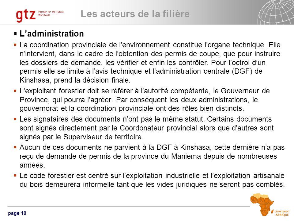 page 10 Les acteurs de la filière Ladministration La coordination provinciale de lenvironnement constitue lorgane technique.