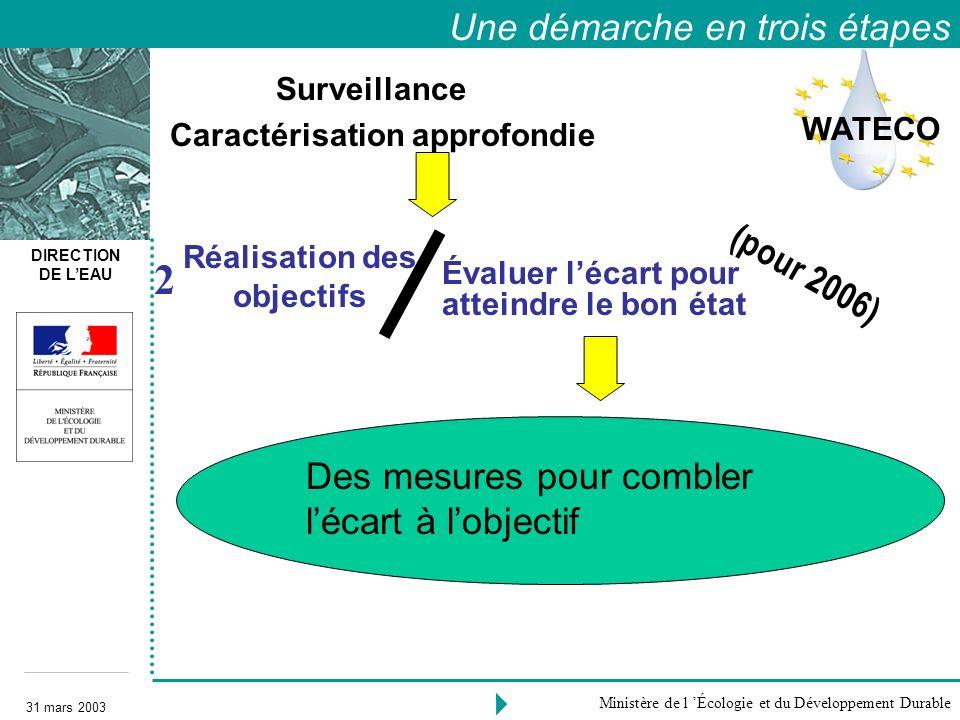 DIRECTION DE LEAU 31 mars 2003 Ministère de l Écologie et du Développement Durable Surveillance Caractérisation approfondie Réalisation des objectifs