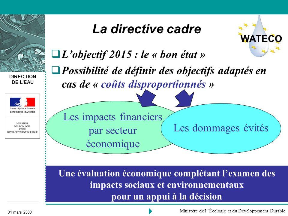 DIRECTION DE LEAU 31 mars 2003 Ministère de l Écologie et du Développement Durable La directive cadre Lobjectif 2015 : le « bon état » Possibilité de