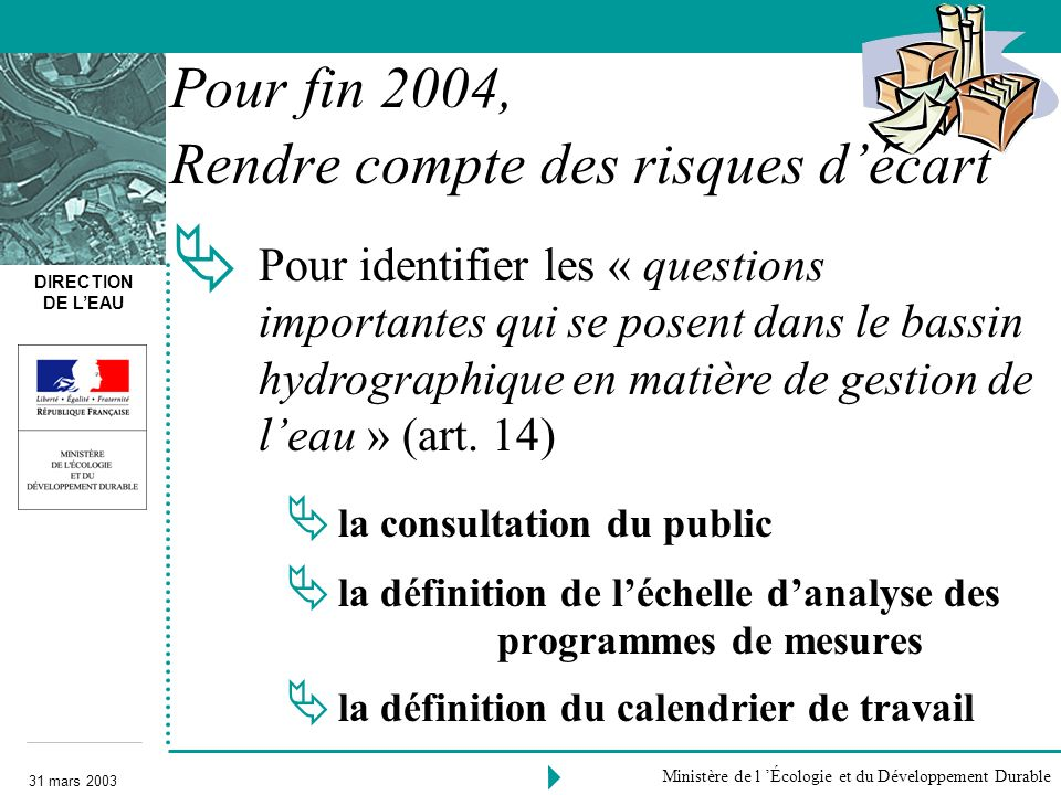 DIRECTION DE LEAU 31 mars 2003 Ministère de l Écologie et du Développement Durable la consultation du public la définition de léchelle danalyse des pr