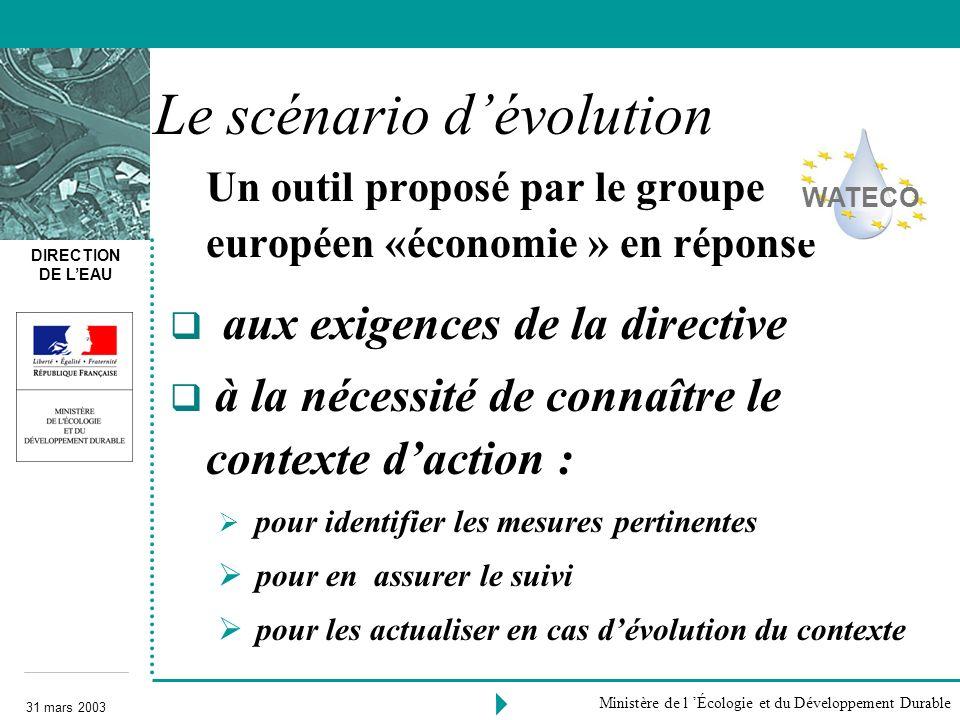 DIRECTION DE LEAU 31 mars 2003 Ministère de l Écologie et du Développement Durable Le scénario dévolution Un outil proposé par le groupe européen «éco